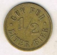Moneda TOKEN, Jeton ALEMANIA, Germany. 1/2 Liter BIER - Alemania