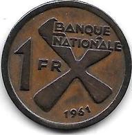 * Belgisch Congo Katanga 1 Franc 1961  Km 1  Xf+ - Katanga