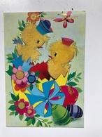 Carte Postale Ancienne Joyeuses Pâques Poussins En Relief - Pâques