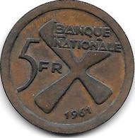 Be Lgisc H Congo Katanga 5  Francs 1961 Km 2      Xf  !!! - Katanga