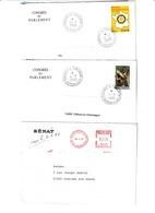 Lot 2 Enveloppes Congrès Du Parlement Et 1 Enveloppe Du Sénat + Cartes Signées Par Député De La Marne - Commemorative Postmarks