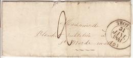 AUBE-  Troyes  - Lettre à Estissac - CAD-Type12B -Tm2 - 1841 - 1801-1848: Precursori XIX
