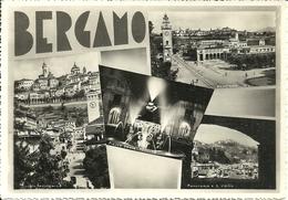 Bergamo (Lombardia) Vedute: Scorci Panoramici, S. Vigilio E Piazza Dante Di Notte - Bergamo
