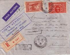 LETTRE TANANARIVE A SAINT DENIS , POSTE AERIENNE VOYAGE D' ETUDE MADAGASCAR REUNION 1938 + RECOMMANDE + RETOUR + INCONNU - Poste Aérienne