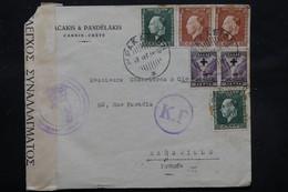 GRECE - Enveloppe Commerciale De Candie Pour Marseille En 1938 Avec Contrôle , Affranchissement Plaisant - L 27764 - Kreta
