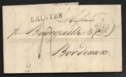 Charente Infre-Lettre Avec Marque Linéaire 16 SAINTES-Pour Bordeaux - Marcophilie (Lettres)