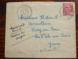 6f Gandon 721 Obl Etivey - Marcophilie (Lettres)