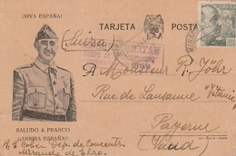 1942 TARJETA CAMPO DE MIRANDA DE EBRO CENSURA  DE CAMPO Hasta SUIZA  ELA 108 - 1931-Aujourd'hui: II. République - ....Juan Carlos I