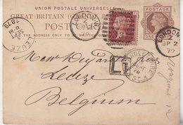 GRANDE-BRETAGNE  : ENTIER POSTAL . AVEC COMPLEMENT . EN L1 . POUR LA BELGIQUE . 1879 . - Stamped Stationery, Airletters & Aerogrammes