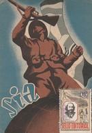 1938 TARJETA SIA Y SELLO EDITORIAL Por Avion Desde BARCELONA   ELA 109 - 1931-50 Cartas
