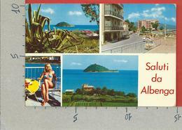 CARTOLINA VG ITALIA - Saluti Da ALBENGA (SV) - Vedutine Multivue - Ragazza In Bikini - Pin Up - 10 X 15 - ANN. 197? - Saluti Da.../ Gruss Aus...