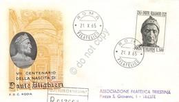 FDC Rodia Repubblica 1965 - Dante Alighieri Lire 500 - Raccomandata Viaggiata - Francobolli