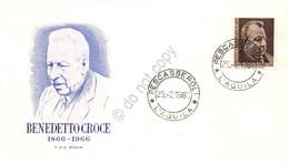 FDC Rodia Repubblica 1966 - Benedetto Croce - Annullo Pescasseroli - Non Viagg. - Francobolli