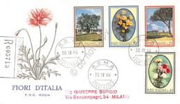 FDC Rodia Repubblica 1966 - Fiori D'Italia - Flora - Raccomandata Viaggiata - Francobolli
