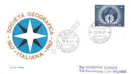 FDC Rodia Repubblica 1967 - Società Geografica Italiana - Non Viaggiata - Francobolli