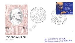 FDC Rodia Repubblica 1967 - Arturo Toscanini - Viaggiata - Francobolli