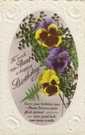 Postcard Happy Birthday Aunt Embossed Tinted Photograph Of Pansies My Ref  B12998 - Birthday