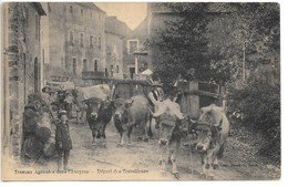 Cpa...travaux Agricoles Dans L'Aveyron...départ Des Travailleurs...animée... - France