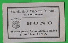 Modena BUONI CARITATEVOLI PANE Opera San Vincenzo De Paoli Da Lire Una Charities - Autres