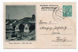 YUGOSLAVIA, SERBIA, UZICE, TURKISH BRIDGE, 1939, 1 DINAR GREEN, USED, POSTAL STATIONERY - Serbia