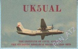 USSR QSL Card Soviet Union UKRAINE The Institute Of Civil AviationThe Students Research Society. Radio Sets. Kiev 1971 - Radio Amateur