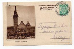 YUGOSLAVIA, SERBIA, SUBOTICA, 1939, 1 DINAR GREEN, USED, POSTAL STATIONERY - Serbia