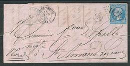 FRANCE 1865 N° 22 S/Lettre Entière   Obl. GC 2791 Pas En Artois + OR - 1862 Napoleon III