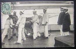 1907 Marine Militaire - Exercice D'une Pièce De 138 à Bord D'un Croiseur De L'escadre Du Nord - PB Cherbourg - Marcophilie (Lettres)