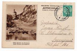 YUGOSLAVIA, SERBIA, DUNAV, DANUBE RIVER, BATAJNICA, 1939, 1 DINAR GREEN, USED, POSTAL STATIONERY - Serbia