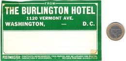 ETIQUETA DE HOTEL  - THE BURLINGTON HOTEL  -WASHINGTON D.C. - Etiquetas De Hotel