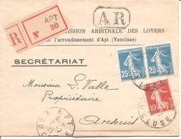 140 X2 + 138 Sur LR Commision Des Loyers + Reçu - Obl Apt Juillet 21 + Cachet Arrivée - TB - 25c Semeuse - Marcophilie (Lettres)