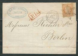 FRANCE 1872 N° 38 Obl. S/ Lettre (pli D'archive) Entière étoile 26 Paris Gare Du Nord Pour Berlin - 1870 Siège De Paris