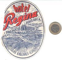 ETIQUETA DE HOTEL  - HOTEL REGINA  -PALMA DE MALLORCA  -ISLAS BALEARES - Etiquetas De Hotel