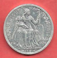 2 Francs , NOUVELLE CALEDONIE , Aluminium , 1991 , N° KM # 14 - Nouvelle-Calédonie