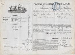 Cachet Fiscal Sur Connaissement  De  Bordeaux à Rouen    1873 - Fiscaux