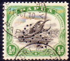 PAPUA (BRITISH NEW GUINEA) 1908 SG #O14 ½d Used Official Wmk Sideways Perf.11 - Papua New Guinea