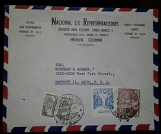 L) 1954 COLOMBIA, 30C, BLUE, AIR SUPPORT,WATERFALL, COMMUNICATIONS PALACE, SOFT COFFEE, BROWN, 5C, CIRCULATED COVER FROM - Colombia
