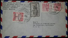 L) 1948 COLOMBIA, POSTAL BANK OF COLOMBIA, OVER PRINT 1 CENTAVO, RED, WORKING, PLAZA BOLIVAR METROPOLITAN CATHEDRAL, 15C - Colombia