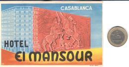 ETIQUETA DE HOTEL  - HOTEL EL MANSOUR  -CASABLANCA - Hotel Labels