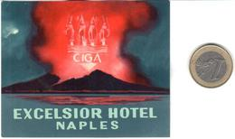 ETIQUETA DE HOTEL  - EXCELSIOR HOTEL  -NAPLES - Hotel Labels