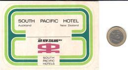 ETIQUETA DE HOTEL  - SOUTH PACIFIC HOTEL  -AUCKLAND  -NEW ZEALAND - Etiquetas De Hotel