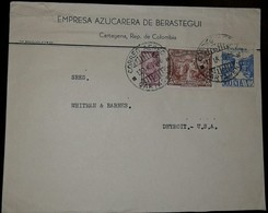 L) 1946 COLOMBIA, COMMUNICATIONS PALACE, 1/2C, SOFT COFFEE, BROWN, 5C, 30C, BLUE, AIRMAIL, CIRCULATED COVER FROM COLOMBI - Colombia