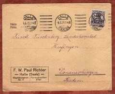 Drucksache, Richter Halle, Germania, Nach Donaueschingen 1921 (72055) - Briefe U. Dokumente