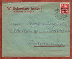 Drucksache, Schnetzer Kempten, Bayernabschied, Nach Donaueschingen 1921 (72056) - Briefe U. Dokumente