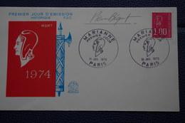 5-002 FDC 1976 Mariane Symbole République Française Autographe Pierre Bequet Dessinateur Graveur - Engravings