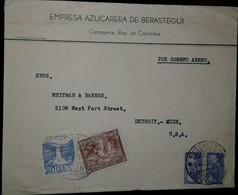 L) 1946 COLOMBIA, SOFT COFFEE, BROWN, 5C, 30C, BLUE, COMNMUNICATIONS PALACE, COMPANY AZUCARERA DE BERASTEGUI, AIRMAIL TO - Colombia