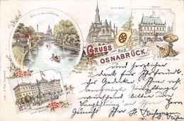 OSNABRÜCK GERMANY-GRUSS Vom-NEUMARKTSBRÜCKE-KIRCHE-RATHAUS-JUSTIZ ~H PAAL 1897 POSTCARD 40112 E - Osnabrueck