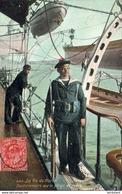 MARINE MILITAIRE FRANCAISE  La Vie Du Marin , Factionnaire Sur La Plage Arrière   ... - Warships