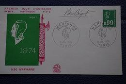5-003 FDC 1976 Mariane Symbole République Française Autographe Pierre Bequet Dessinateur Graveur - Engravings