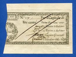 Italy 100 Lire 1750 Regie Finanze Di Torino - Regno Di Sardegna R5 PS106 Fds-/Fds - [ 1] …-1946 : Kingdom